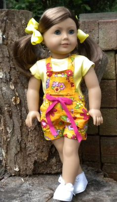 Short Overalls for American Girl or other 18 by mydollyscloset1.