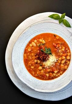 "Pasta Fazool (aka ""Pasta e Fagioli"") is a simple Italian soup with white beans, tomatoes and ditalini pasta. It's hearty and flavorful!"