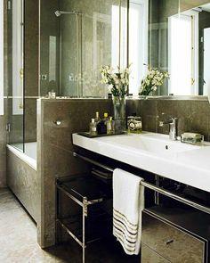 Dark taupe and white bathroom