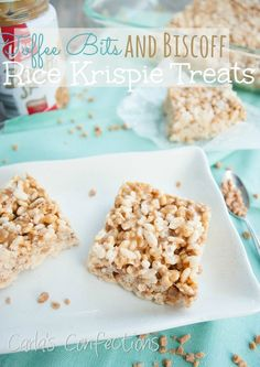 Toffee Bits and Biscoff Rice Krispie Treats from www.carlasconfections.com