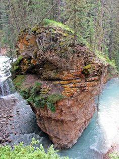 Rock column in Johnston Canyon, Banff National Park. Alberta, Canada