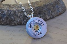 Shotgun Shell Casing Pendant Necklace by ChaosTrinkets on Etsy, $18.00