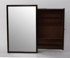 Espejo de pared con joyero en madera DM, marrón - 38x60 cm