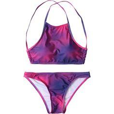 Tie-Dye High Neck Bikini Set Purplish Red ($11) ❤ liked on Polyvore featuring swimwear, bikinis, bikini beachwear, tie dye high neck bikini, bikini two piece, tye dye bikini and bikini swimwear