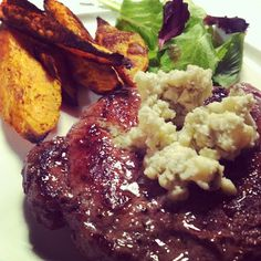 """""""Tonight's strip loin with blue-cheese butter. - Karen Kwan and Blue Cheese Butter, Canadian Cheese, How To Make Cheese, Simple Pleasures, Cheese Recipes, Cauliflower, Nom Nom, Steak, Beef"""
