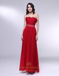 Burgundy Chiffon Bridesmaid Dresses, Strapless Chiffon Prom Dress, Chiffon Gown With Beaded Waist, Pleated Strapless Prom Dress