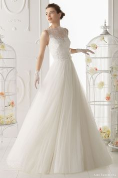 aire barcelona bridal 2014 ocarina romantic wedding dress lace bodice