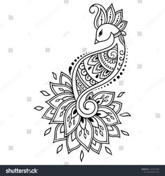 Mehndi flower pattern with peacock for Henna drawing and tattoo. Decoration in ethnic oriental, Indian style. Peacock Drawing, Peacock Tattoo, Peacock Art, Mehndi Flower, Mehndi Art, Henna Art, Doodle Art Drawing, Mandala Drawing, Flower Pattern Drawing