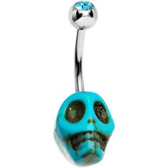 Aqua Gem Bare Bones Skull Belly Ring | Body Candy Body Jewelry #bodycandy #piercings #navelring