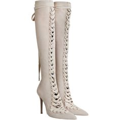 ZIMMERMANN Lace Up Long Boot (1 630 AUD) ❤ liked on Polyvore featuring shoes, boots, over-the-knee boots, over-the-knee high-heel boots, thigh high heel boots, knee-high lace-up boots, over the knee lace up boots and knee high leather boots