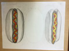 Ik ging vandaag andere hot dong in kleuren en ik ben er erachter gekomen dat het veel realistischer uitziet als ik donkere vlakken bij teken . En ik heb ook de pitjes verandert van de donkerdere hot dog om het nog meer realistischer te maken .