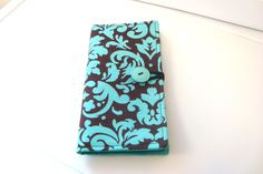 Loyalty Grocery Store Card Holder Gift Card, Business Card Holder Card Case - Brown with Turquoise by GrandmasLittleLilly on Etsy