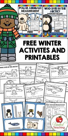Free Kindergarten Winter Activities for kids! Reinforce reading and math with these printables. These are ideal for using in a math or literacy center. #Kindergarten #math #reading #activities #kids #teaching