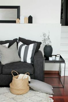 Dark Grey Sofa Cream Diamond Rug Would Work