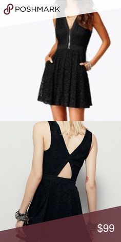 FREE PEOPLE NWT Sz XS Black lace dress. NWT. FREE PEOPLE NWT Sz XS Black lace dress with plunge v neck and hidden side zip. Open cutout at back. Hook & eye closures at front neckline. Two side hip pockets. Cotton, nylon, rayon, polyester. Free People Dresses