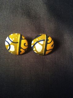 Gold, Tan, Cream and Blue Abstract Button Earrings