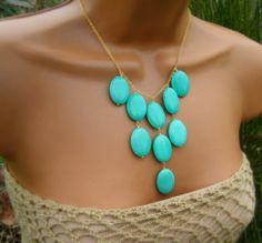 Turquoise Bib Necklace Pastel Aqua Jade Stone Bib by cuppacoffee, $29.00
