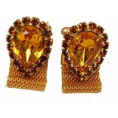 Vintage Amber Yellow Rhinestone Gold Mesh Wrap Cuff Links ($20) ❤ liked on Polyvore featuring jewelry, bracelets, rhinestone bangles, vintage gold bangle, rhinestone jewelry, gold jewelry and gold rhinestone jewelry