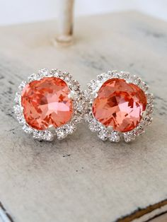 Peach pink coral crystal halo stud earrings by EldorTinaJewelry