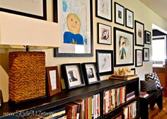 3 Kids Art Gallery Ideas I've always loved my kids artwork. From their early day scribblesto their present day masterpieces, each piece gives me a glimpse into their magical little minds and I love what I see. Well, I don't love what I see ALL the time asmany pieces include Henry Bacon our dog. He has a rather obvious spoton his rear endwhich is somewhat 'lost in translation' when it comes to placement in a drawing- if you know what I'm saying... Oh sure, the drawing...