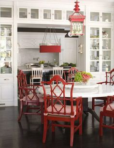 LOVE this chinoiserie with the traditional kitchen/dining room look.