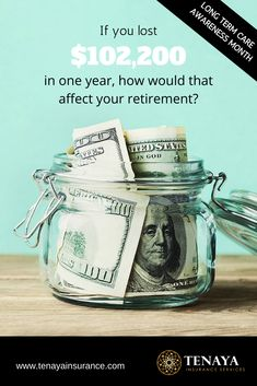 If you lost $102,200 in one year, how would that affect your retirement?  If you don't plan for how you will pay for long term care, (and if you reach age 67, there's a 70% chance you will need it at some point), then you are taking a HUGE financial risk.  The good news?  Long term care insurance is built to throw a barrier of protection around your assets so that if you do need long term care, the insurance company takes care of the bill.  CLICK HERE to learn more.  #longtermcare #insurance Life Insurance Types, Life Insurance For Seniors, Long Term Care Insurance, Saving For Retirement, Retirement Planning, First Year, Money Tips, Lost, Age
