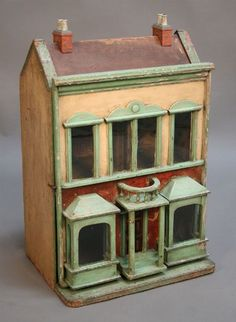 Vintage Dolls house, looks like Gottschalk to me. Antique Dollhouse, Dollhouse Dolls, Dollhouse Miniatures, Dollhouse Furniture, Dollhouse Interiors, Doll Furniture, Antique Toys, Antique Quilts, Vintage Quilts