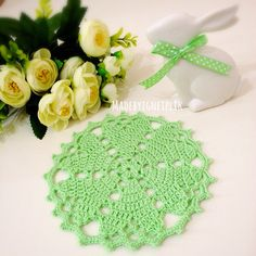 Crochet Floor Rug Doily Heart