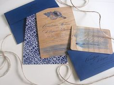 Real Wood Wedding Invitation Beach Weddings  by sarasofiacouture