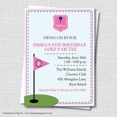 Golf birthday party invitation printable boy golf par tee invite custom preppy girl golf birthday invitation by katarinaspaperie 1450 filmwisefo