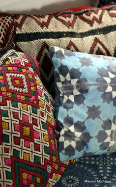 A jumble of cushions on the daybed.