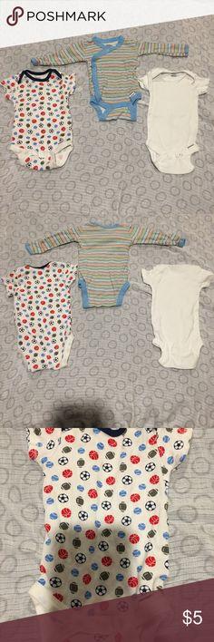 Gerber Onesie Bundle Gerber Onesie set  two 0-3 months and one 3-6 months. Gerber One Pieces Bodysuits