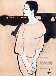 Illustration by René Gruau, 1954, New Collar, Balenciaga.