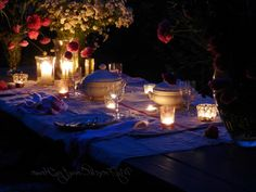 Great Romantic Candlelight Dinner on Your Own Home Outdoor Space: Smart Ideas of Decorating Dining Table for Outdoor Dining Space in Special Outdoor Dinner Time : Lovely Outdoor Candlelight Dinner Decor With Beautiful Flowers Decor On The Dining Table