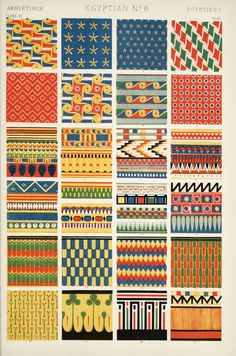 """a plate of Egyptian patterns from """"Grammar of Ornament"""" by English architect, designer & author, Owen Jones (1809-1868). via but does it float"""