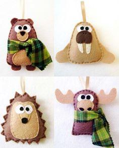 Oso, morsa, erizo y alce de fieltro - felt bear,  hedgehog, walrus and moose