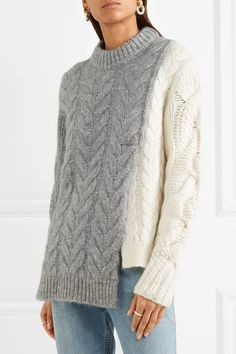Moncler | Two-tone cable-knit sweater | NET-A-PORTER.COM