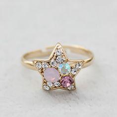 Modern Girls Colorful Shining Star Rings  Item Code:#LGQ57+pic    US$6.40