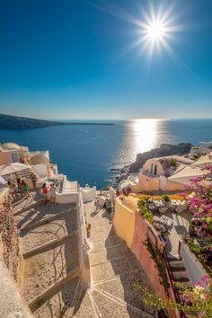 Greece Travel Inspiration - Steps to Ammoudi, Oia, Santorini Vacation Places, Vacation Destinations, Dream Vacations, Vacation Spots, Beautiful Places To Travel, Wonderful Places, Photos Voyages, Mykonos, Oia Santorini