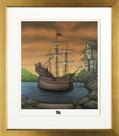 Paul Horton Smugglers Cove (special Remarque which is the little original sketch at the bottom of the piece.) – Trident Galleries