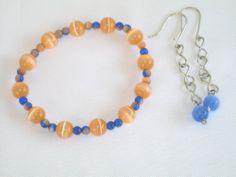 Handmade Blue Orange Cat's Eye Beaded Earring Stretch Bracelet Jewelry Set