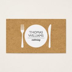 RUSTIC FORK, KNIFE, PLATE LOGO on BUTCHER PAPER Business Card Catering Logo, Butcher Paper, Unique Logo, Unique Recipes, Keep It Cleaner, Business Cards, Logo Design, Things To Come