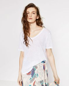 Image 2 of BASIC LINEN T-SHIRT from Zara