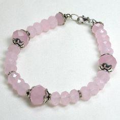 Rose Quartz Gemstone and Silver Bracelet (B0106)