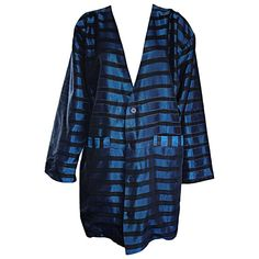 Rare Vintage Todd Oldham 1990s Blue and Black Striped Silk Cocoon Cocoon Jacket  | From a collection of rare vintage jackets at https://www.1stdibs.com/fashion/clothing/jackets/