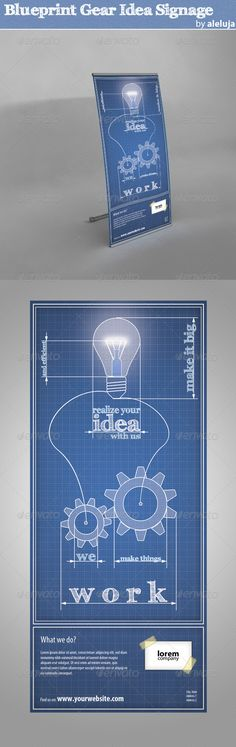 Blueprint Gear Idea Signage#GraphicRiver         Creative signage template. Blueprint style representing working (gearing) on realization of an idea. You will get noticed.  File attributes: 	 	 30''x70'' (30.5''x70.5'' with bleeds)   150 DPI   CMYK  Print Ready 		 Awesome  Fonts Used: 	 Myriad Pro  FFF Tusj  .fontsquirrel /fonts/FFF-Tusj 	In the same style   Please rate this file so I can have a feedback, thank you!     Created: 28May12 GraphicsFilesIncluded:
