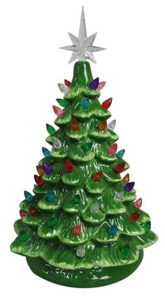 ReLIVE Christmas Is Forever Lighted Tabletop Ceramic Tree 145 Green TreeMulti Color Lights >>> You can find out more details at the link of the image. (This is an affiliate link) Christmas Tree Base, Tabletop Christmas Tree, Green Christmas, Christmas Colors, Christmas Time, Christmas Decorations, Christmas Ornaments, Vintage Decorations, Holiday Time