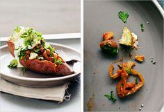 Baked Sweet Potatoes with Chili Beans. Season notes: sweet potato (Oct. to Nov.)