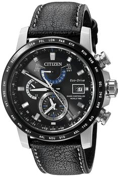 Citizen Eco-Drive Men's AT9071-07E Atomic World Time Black Leather Strap Watch | eBay