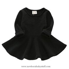 Baby Girl Clothes Infant Toddler Baby Girls Dress Pink Ruffle Long Sleeves Cotton (2-3Year(3T), Black)